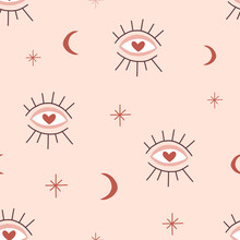 Magic Seeing Eye Vector Seamless Pattern Boho Isoteric Magical Eyesight Moon Star Background Doodle Simple Drawing Neutral Pink Design