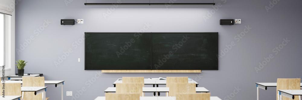 Fototapeta Leere Schultafel in Klassenzimmer einer Schule