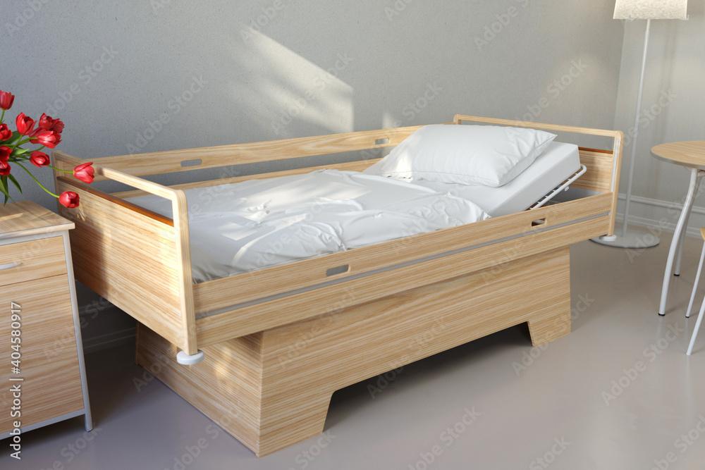 Fototapeta Leeres Bett in einem Pflegeheim oder Seniorenheim