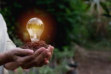Close-up Of Hand Holding Mud And Illuminated Light Bulb