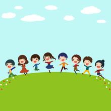 青い空の草原でジャンプする6人の子供たちのイラスト