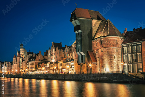 Fototapety, obrazy: Historic old town in Gdansk after sunset, Poland