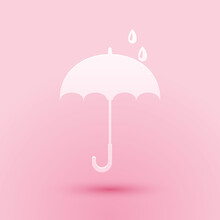 Paper Cut Classic Elegant Opened Umbrella Icon Isolated On Pink Background. Rain Protection Symbol. Paper Art Style. Vector.