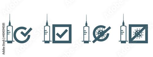 Obraz Vaccine covid-19 use icon. Flat vector illustration. - fototapety do salonu