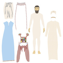 The Eight Garments Of The Jewish High Priest In The Temple In Jerusalem: Undergarments, Tunic, Sash, Turban, Robe, Ephod, Breastplate, Golden Plate.  Cut And Glue And Dress. Vector Drawing