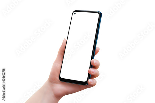 Fotografering Isolated smart phone in woman hand