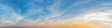 Gorgeous Panorama Scenic Of Sunrise And Sunset With Silver Lining And Cloud In The Morning And Evening. Panoramic Landscape Image.