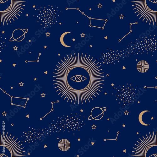 Valokuva Seamless pattern with sun, planets, stars, constellations