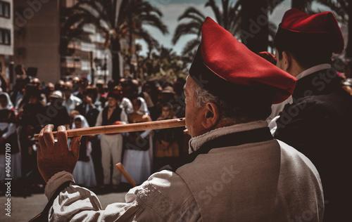 Fotografie, Tablou Ibiza Town, Ibiza / Spain - 5 05 19: Selective focus on an man, part of a folklo