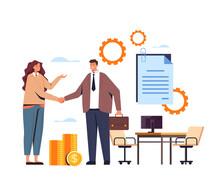 Business Deal Partnership Employment Management. New Contract Deal Concept. Vector Flat Graphic Design Illustration
