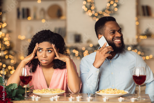 Angry Black Woman On Date, Man Talking On Phone