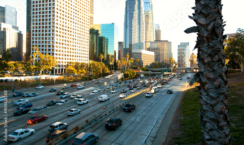 View of Dowtown LA traffic with with skyscrapers in the background