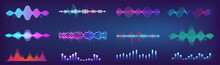 Sound Waves Equalizer Colorful Collection. Futuristic Set In HUD Style - Music Waves, Frequency Audio Waveform, Voice Graph Signal. Microphone Voice Control Collection And Sound Recognition. Vector