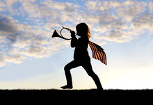 Patriotic Little Girl Child Blowing French Horn And Carrying American Flag