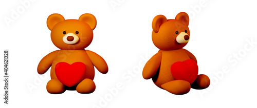 A teddy bear with a heart on white background celebration concept for Happy Women, dad mom, sweet heart, banner or brochure birthday greeting gift card design. 3d Romantic love greeting poster. #404621328