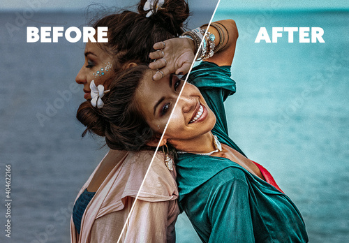 Obraz Before and After Photo Effect  - fototapety do salonu