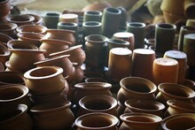 High Angle View Of Earthenware For Sale At Market Stall