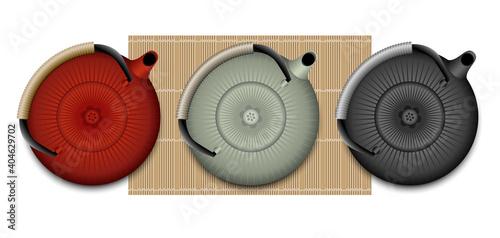 Fototapeta Illustration 3D de d'une théière japonaise vue de dessus, de 3 couleurs différentes, rouge, vert, noir. obraz na płótnie