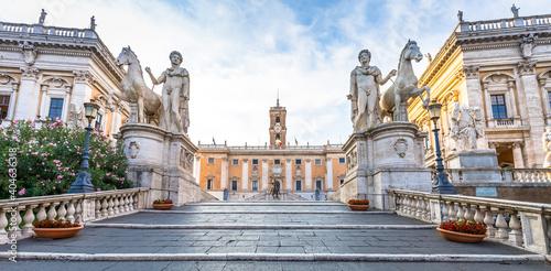 Canvas Staircase to Capitolium Square (Piazza del Campidoglio) in Rome, Italy