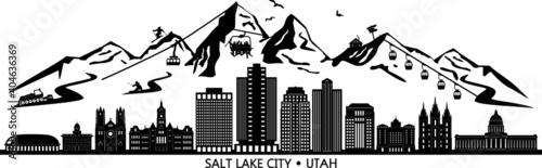 Valokuva SALT LAKE CITY Utah SKYLINE City Silhouette