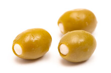 Green Olives Stuffed With Cheese On A White Background