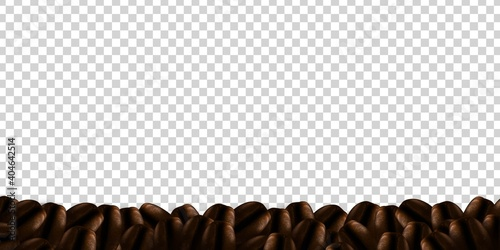 Fototapeta Vector realistic isolated coffee bean border for covering and wrapping design on the transparent background. Concept of coffee brand. obraz