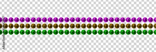 Fototapeta Vector realistic isolated beads for Mardi Gras for decoration and covering on the transparent background