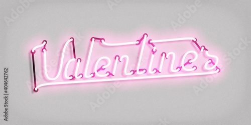 Vector realistic isolated neon sign of Valentine's Day logo on the white background.