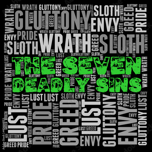 Fotografia Word Cloud: The Seven Deadly Sins