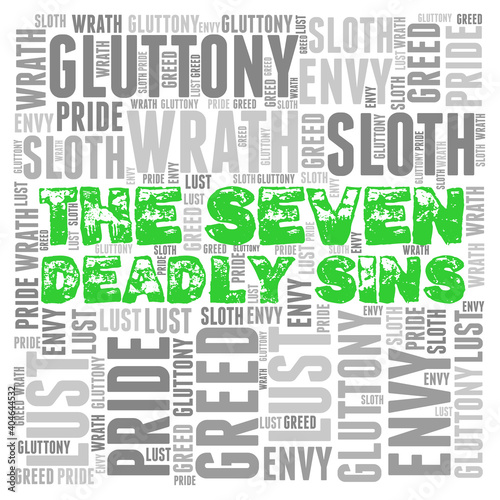 Obraz na plátně Word Cloud: The Seven Deadly Sins