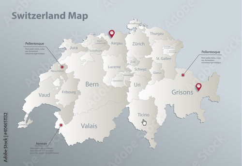 Obraz na plátne Switzerland map, administrative division with names, blue white card paper 3D ve