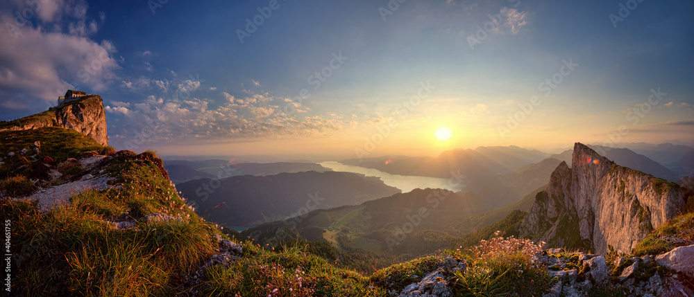 Leinwandbild Motiv - silvio schoisswohl/EyeEm : Panoramic View Of Mountains Against Sky During Sunset