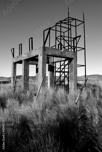 Abandoned Built Structure On Field Against Clear Sky Fotobehang