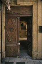 Old Ancient Doorway With Wooden Door