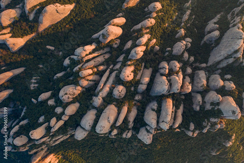 Obraz na plátně Aerial view of the Montserrat conglomerate crags, a huge vertical fingers multi