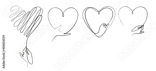 Collection of hand drawn heart with hand