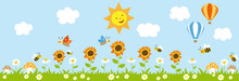 Spring Sunny Garden Background With Sunflowers, Bees, Butterflies And Hot Air Balloon.