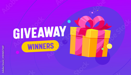 Fotografering Giveaway Winners Banner with Gift Box, Promotion Contest, Competition Free Prize