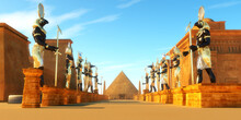 Avenue Of Egyptian Pharaohs - Statues Of Egyptian Gods Line A Street In Ancient Egypt Including Amun, Anubis, Hathor, Horus, Maat, And Ra.