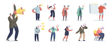 Set Of People With Megaphone. Male And Female Characters Yell To Loudspeaker Isolated On White Background, Alert Ad