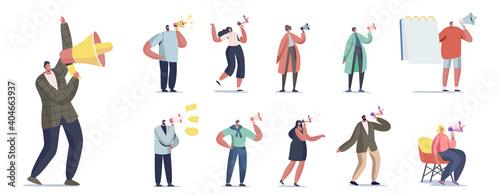 Obraz na plátně Set of People with Megaphone