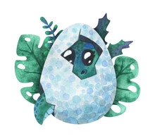 A Green Baby Dinosaur Hatched From An Egg. Cartoon Print With A Dragon In A Shell. Children's Watercolor Illustration Isolated On A White Background. Cute Character For Decor, Stickers, Prints