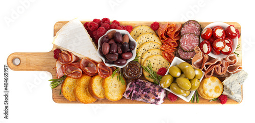 A Savoury Charcuterie Board Covered in Meats Olives Peppers Berries and Cheese Fototapet