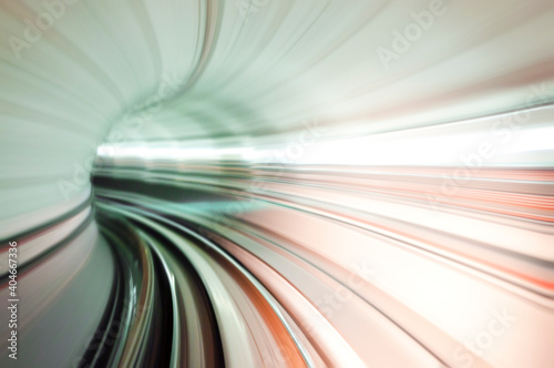Slika na platnu Blurred Motion Of Light Trails In Illuminated Tunnel