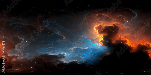 Photo 360 degree equirectangular projection space background with nebula and stars, environment map