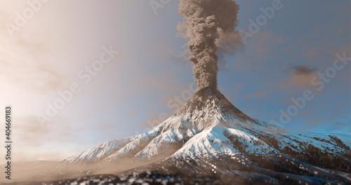 Snowy mountain volcano eruption with smoke cloud over the top Fototapeta