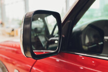 Close-up View Of Old Rearview Mirror On Retro Car.