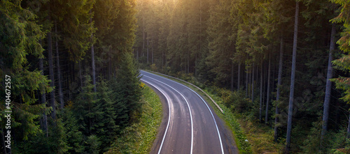Asphalted road in the autumn mountain forest. Fototapet