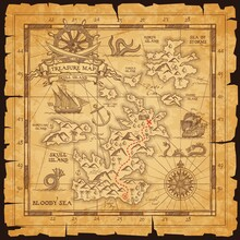 Old Pirate Map, Vector Worn Parchment With Treasure Location, Sea, Islands And Land, Wind Rose And Cardinal Points. Vintage Grunge Paper Pirate Map With Route To Find Chest With Treasury, Adventure