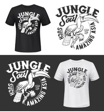 Great Hornbill Bird T-shirt Print Mockups. Asian Jungles Exotic Bird With Horn On Big Beak Sitting On Tree Branch Monochrome Engraved Vector. Tropical Nature Fauna, Wild Life Clothing Print Template